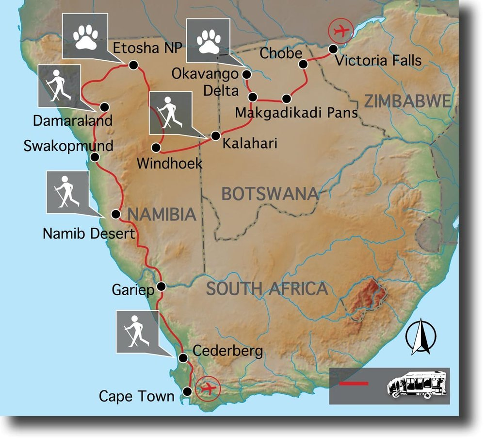 Routekaart van Cape Town to Vic Falls Explorer